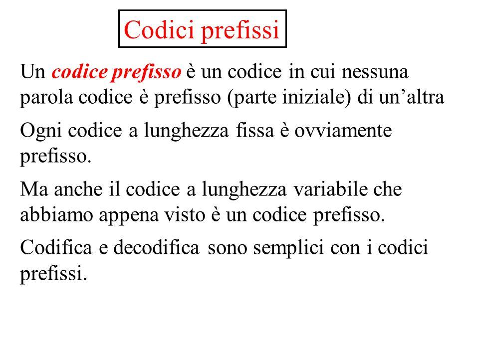 Codici prefissi Un codice prefisso è un codice in cui nessuna parola codice è prefisso (parte iniziale) di un'altra.