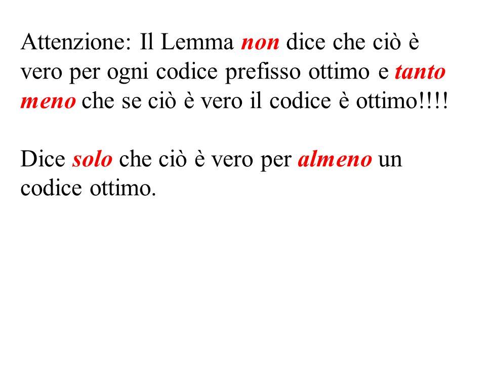Attenzione: Il Lemma non dice che ciò è vero per ogni codice prefisso ottimo e tanto meno che se ciò è vero il codice è ottimo!!!!