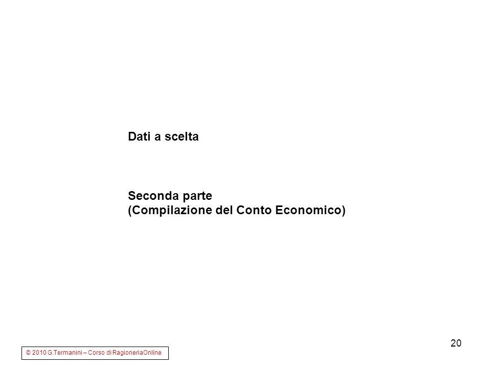 (Compilazione del Conto Economico)