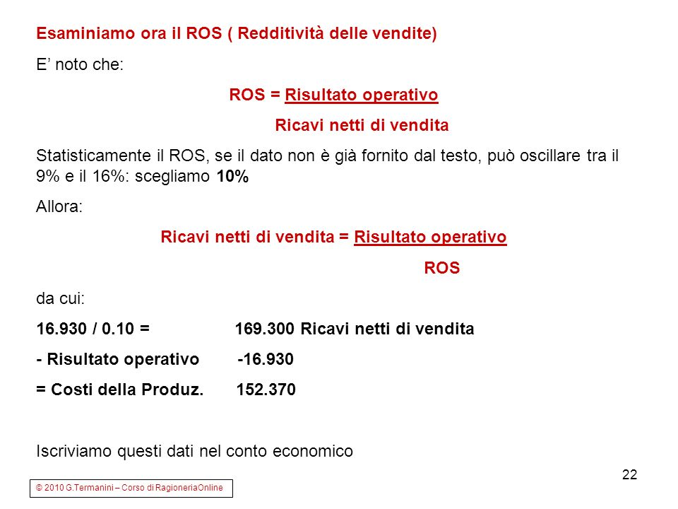 Esaminiamo ora il ROS ( Redditività delle vendite) E' noto che: