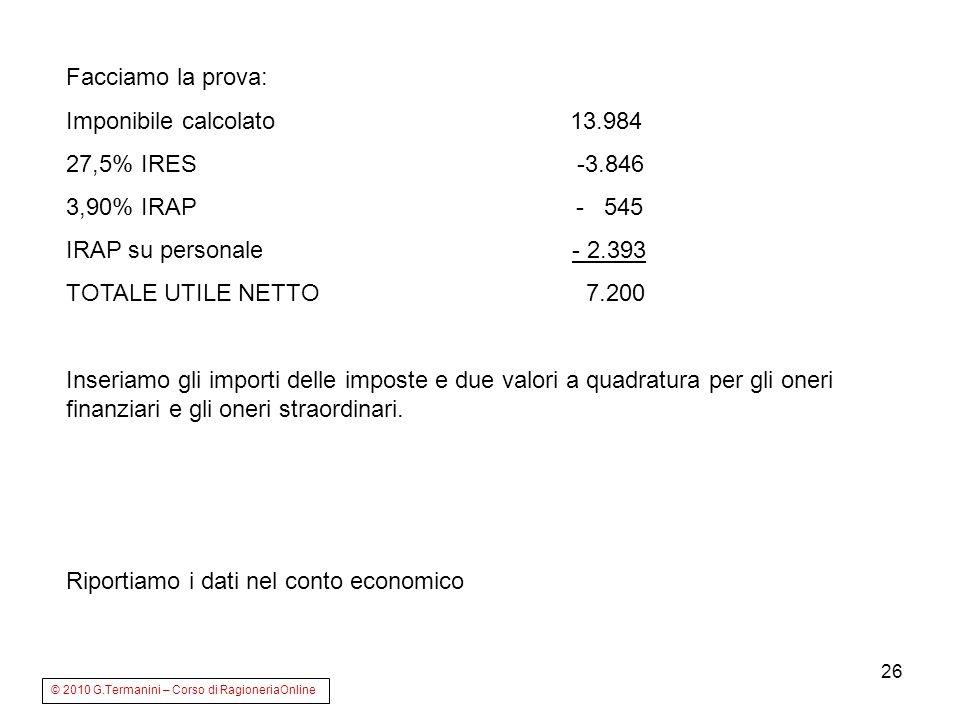 Riportiamo i dati nel conto economico
