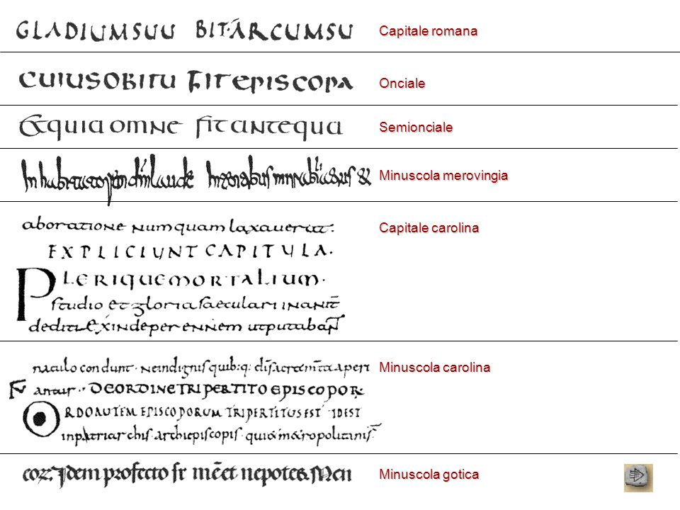 Capitale romana Onciale. Semionciale. Minuscola merovingia. Capitale carolina. Minuscola carolina.