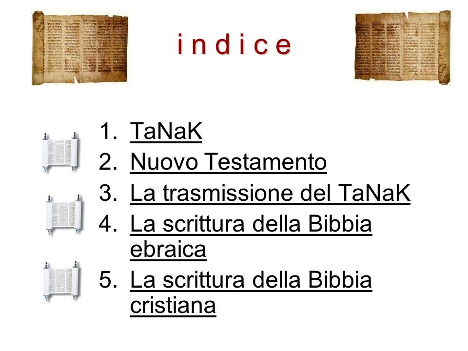 i n d i c e TaNaK Nuovo Testamento La trasmissione del TaNaK