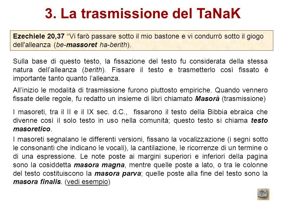 3. La trasmissione del TaNaK