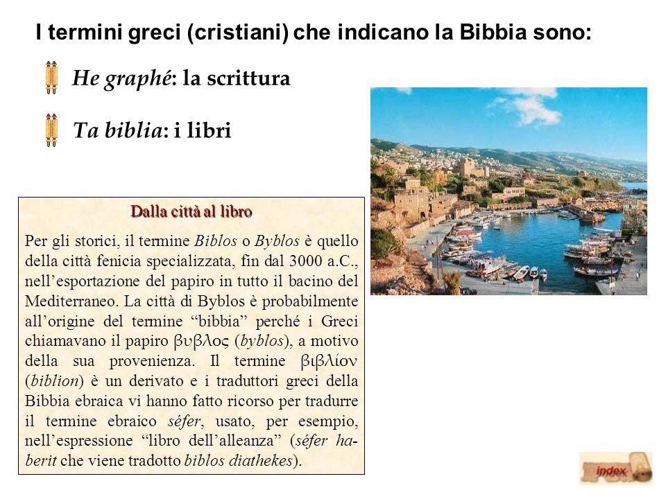 I termini greci (cristiani) che indicano la Bibbia sono: