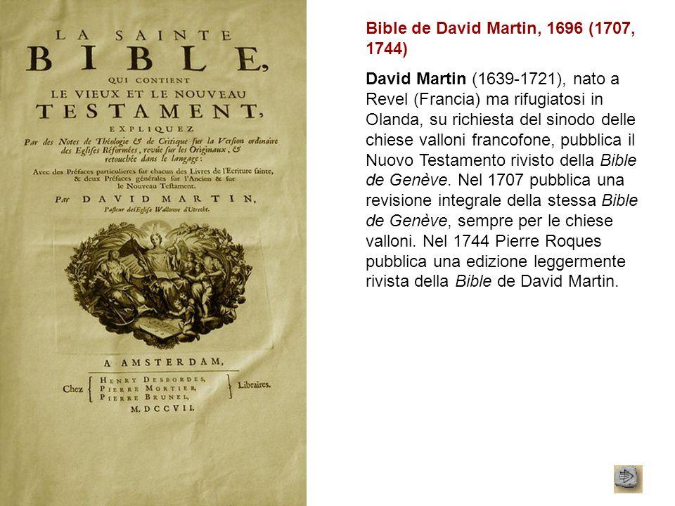 Bible de David Martin, 1696 (1707, 1744)