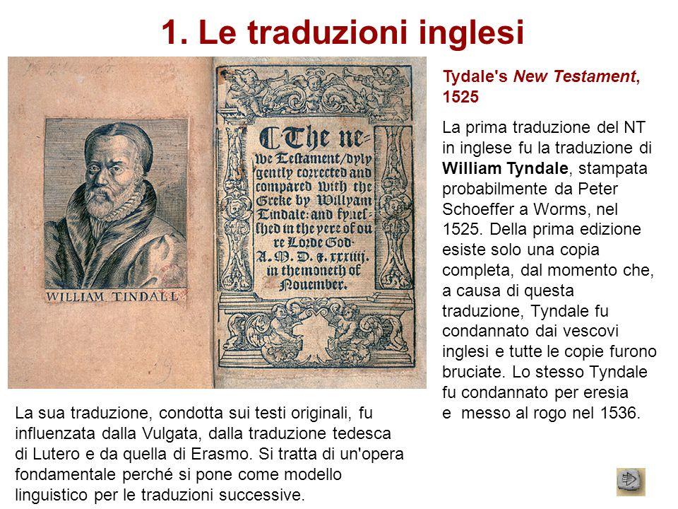1. Le traduzioni inglesi Tydale s New Testament, 1525