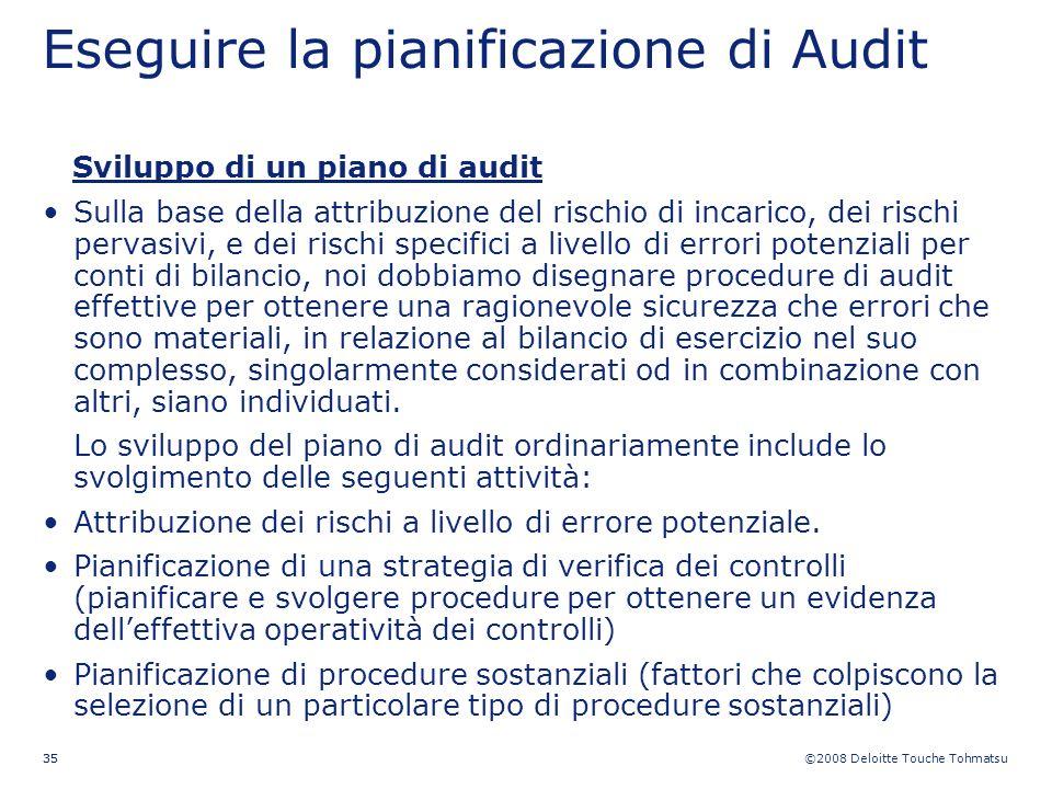 Eseguire la pianificazione di Audit