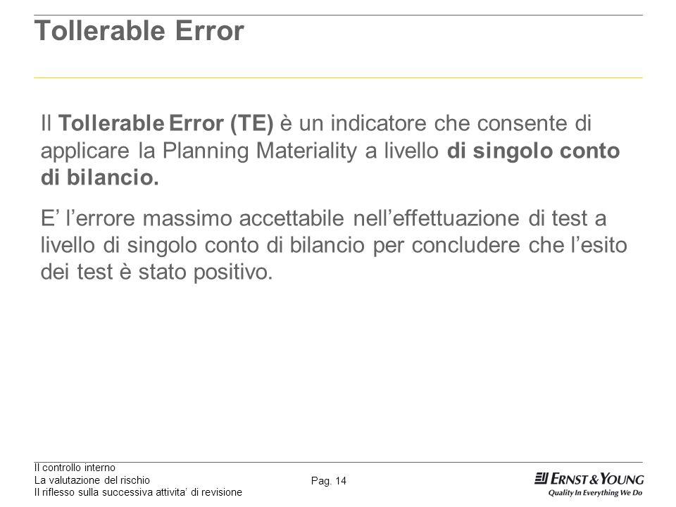 Tollerable ErrorIl Tollerable Error (TE) è un indicatore che consente di applicare la Planning Materiality a livello di singolo conto di bilancio.