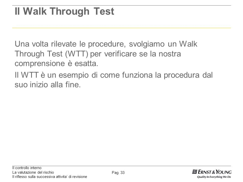 Il Walk Through Test Una volta rilevate le procedure, svolgiamo un Walk Through Test (WTT) per verificare se la nostra comprensione è esatta.
