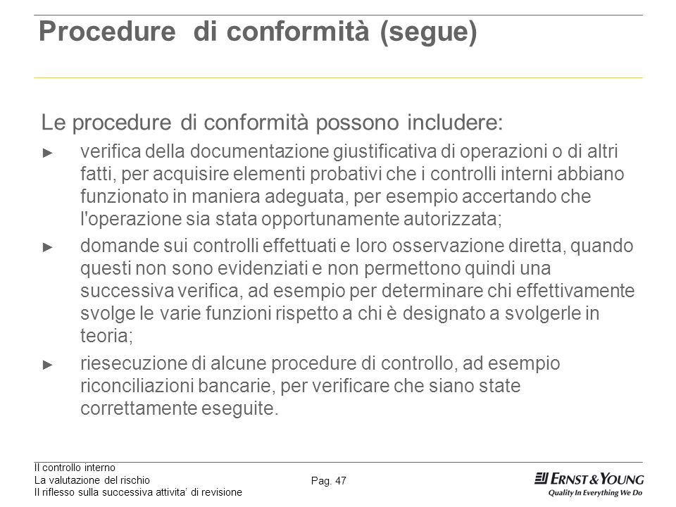 Procedure di conformità (segue)