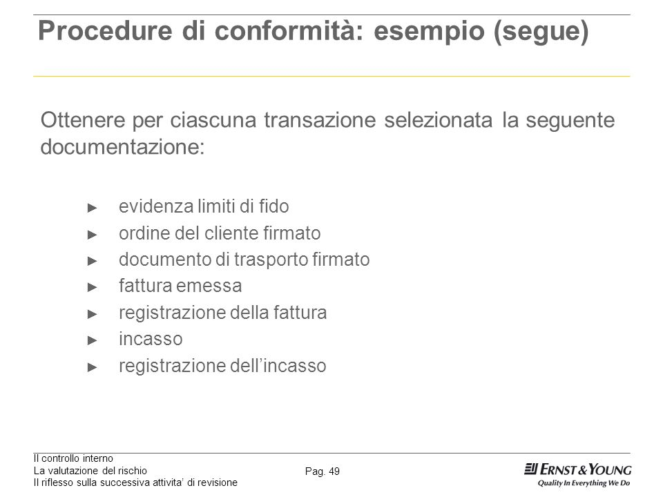 Procedure di conformità: esempio (segue)