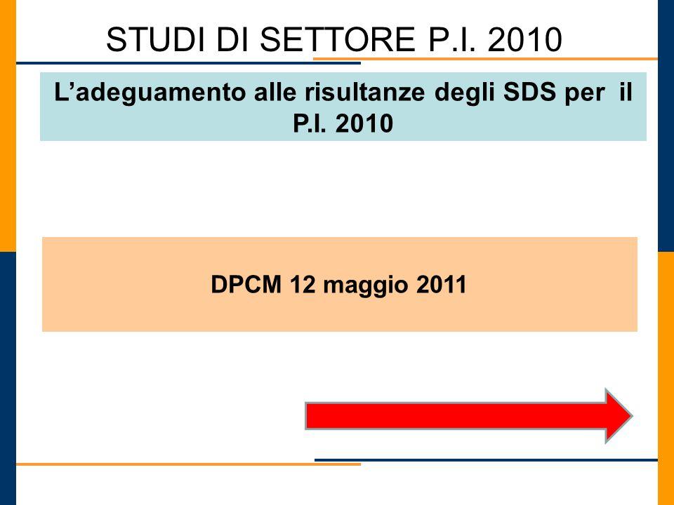 L'adeguamento alle risultanze degli SDS per il P.I. 2010