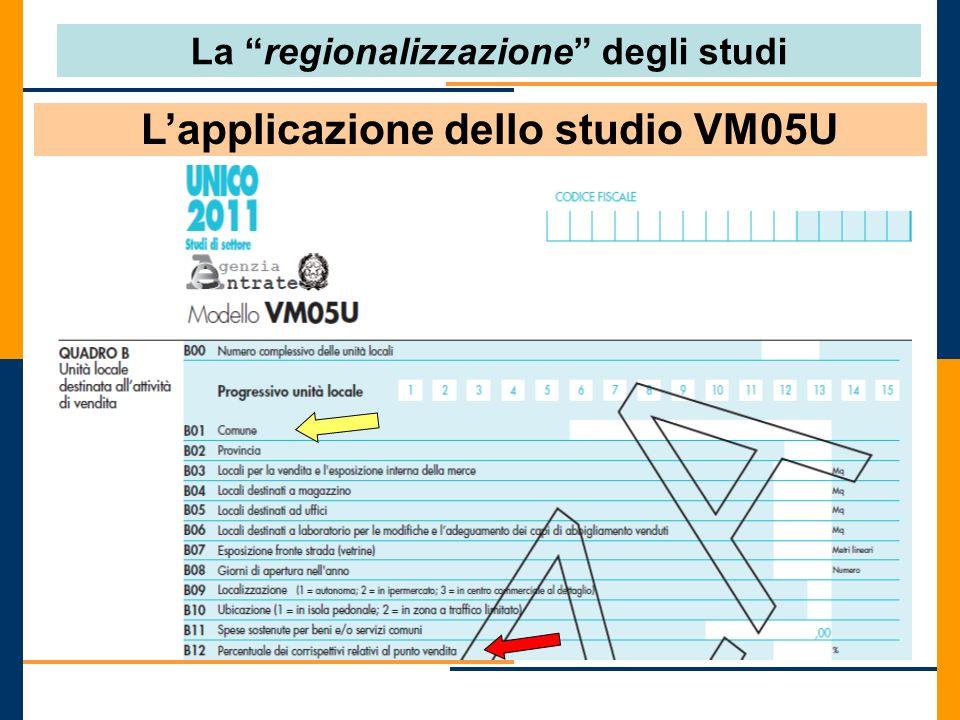 La regionalizzazione degli studi L'applicazione dello studio VM05U