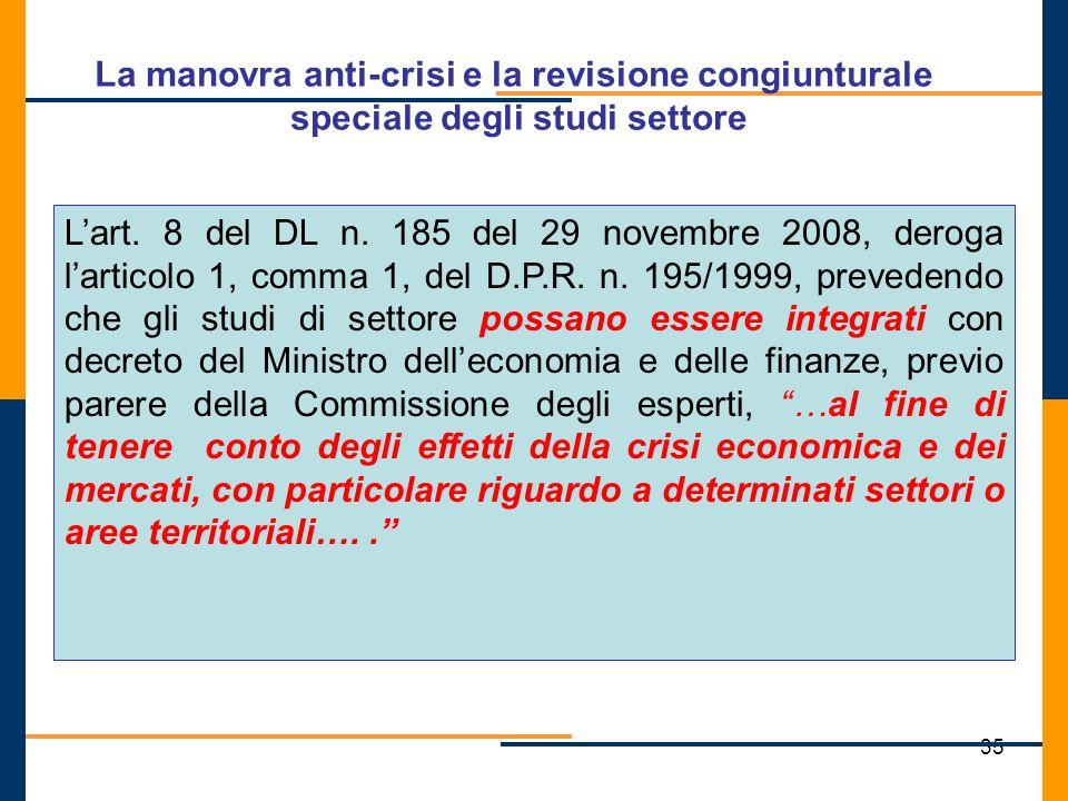 La manovra anti-crisi e la revisione congiunturale