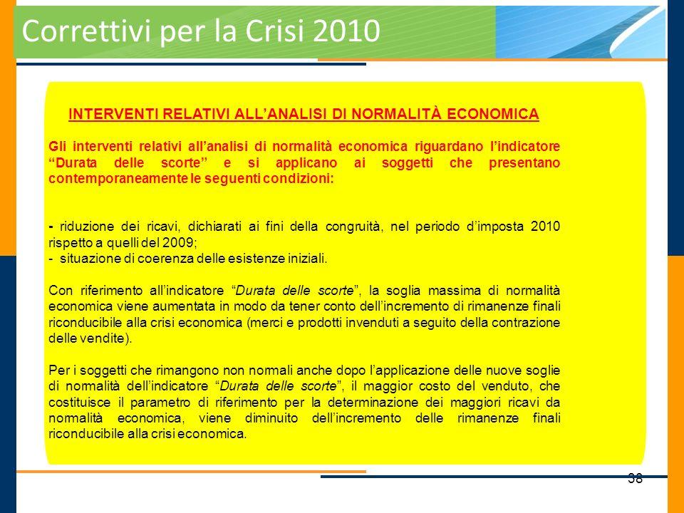 INTERVENTI RELATIVI ALL'ANALISI DI NORMALITÀ ECONOMICA