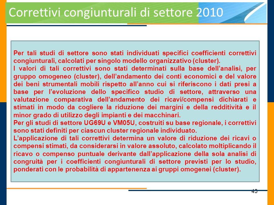 Correttivi congiunturali di settore 2010