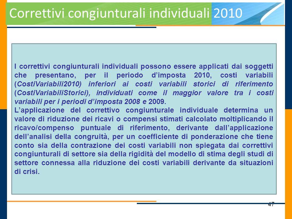 Correttivi congiunturali individuali 2010