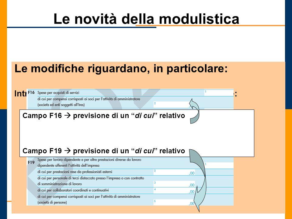 Le novità della modulistica