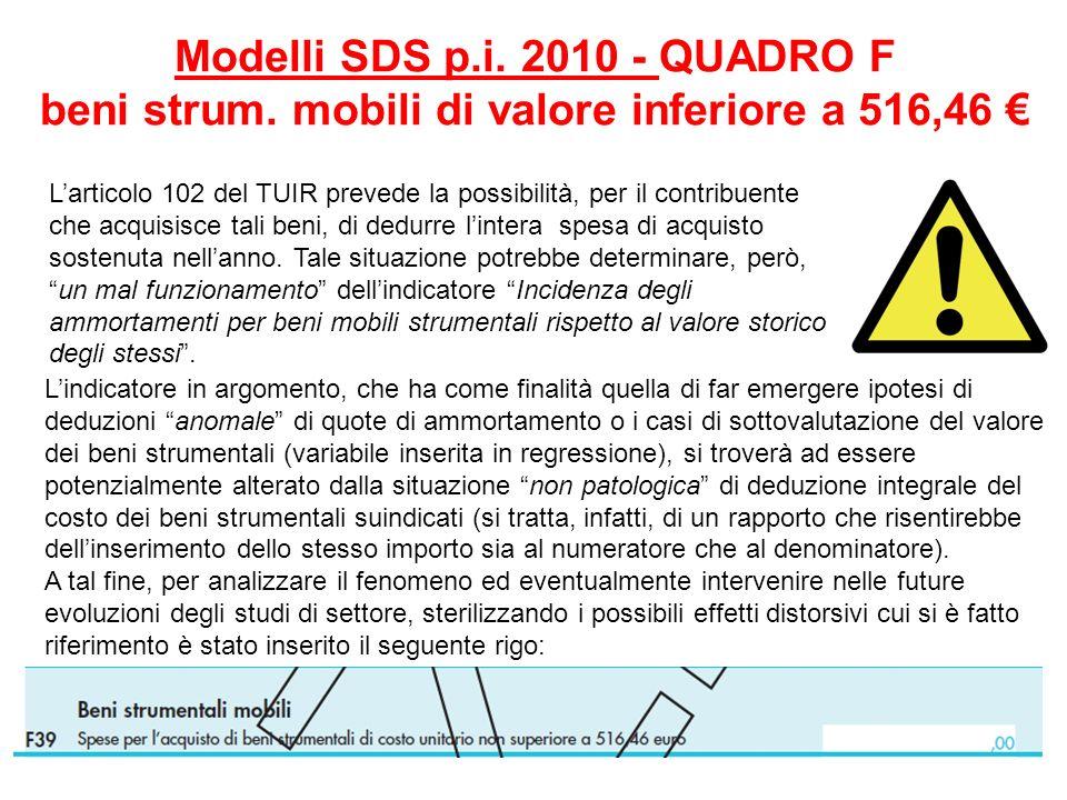 Modelli SDS p. i. 2010 - QUADRO F beni strum