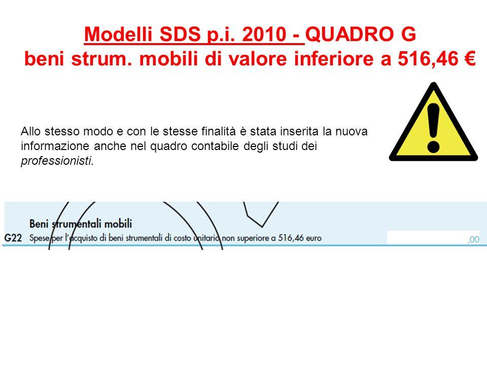Modelli SDS p. i. 2010 - QUADRO G beni strum