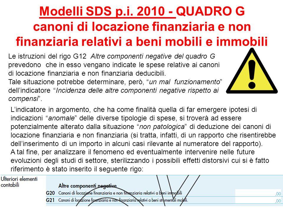Modelli SDS p.i. 2010 - QUADRO G canoni di locazione finanziaria e non finanziaria relativi a beni mobili e immobili
