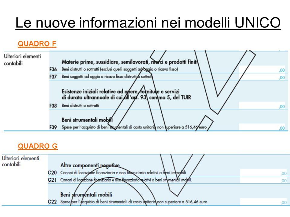 Le nuove informazioni nei modelli UNICO