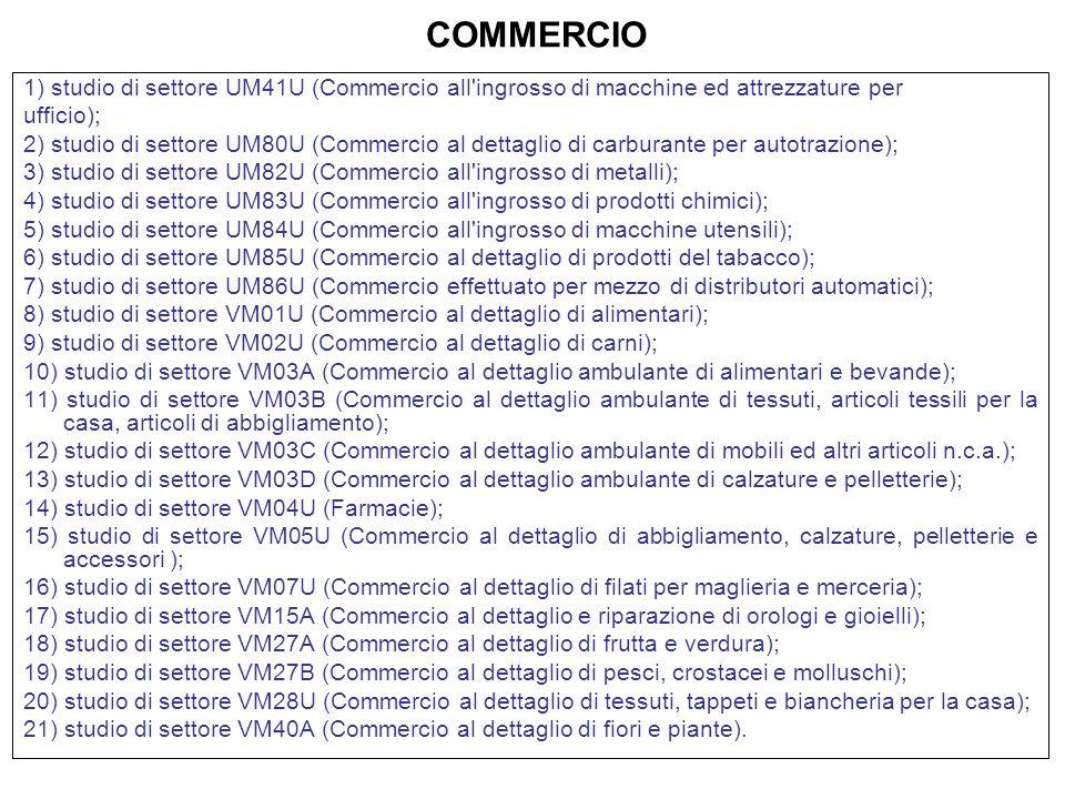 COMMERCIO 1) studio di settore UM41U (Commercio all ingrosso di macchine ed attrezzature per. ufficio);