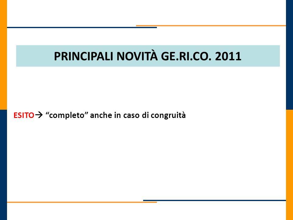 PRINCIPALI NOVITÀ GE.RI.CO. 2011
