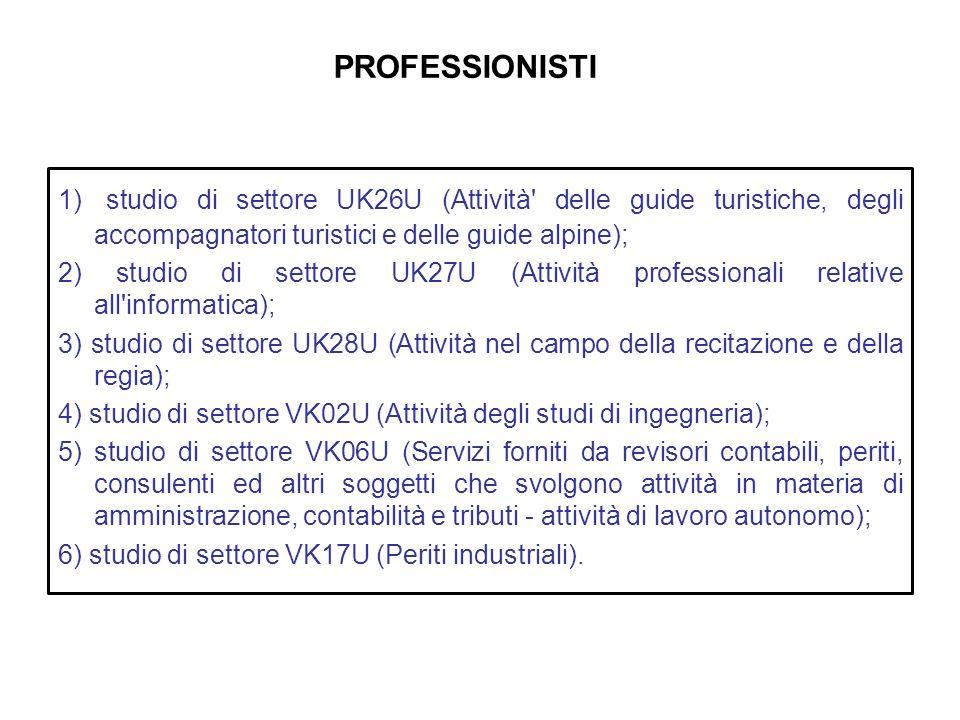 PROFESSIONISTI 1) studio di settore UK26U (Attività delle guide turistiche, degli accompagnatori turistici e delle guide alpine);