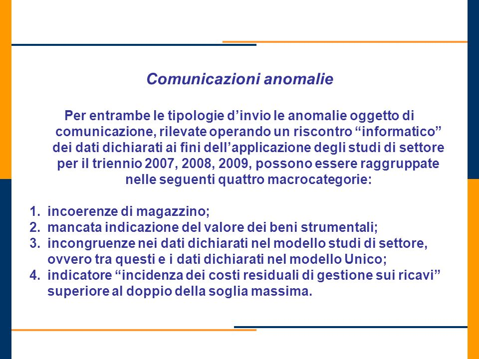 Comunicazioni anomalie