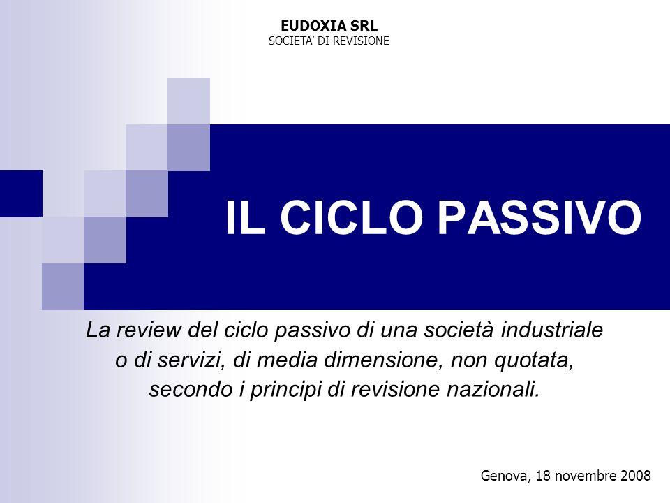 EUDOXIA SRL SOCIETA' DI REVISIONE. IL CICLO PASSIVO. La review del ciclo passivo di una società industriale.