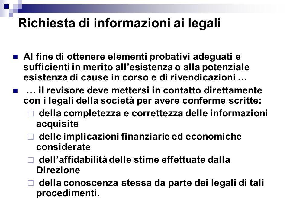 Richiesta di informazioni ai legali