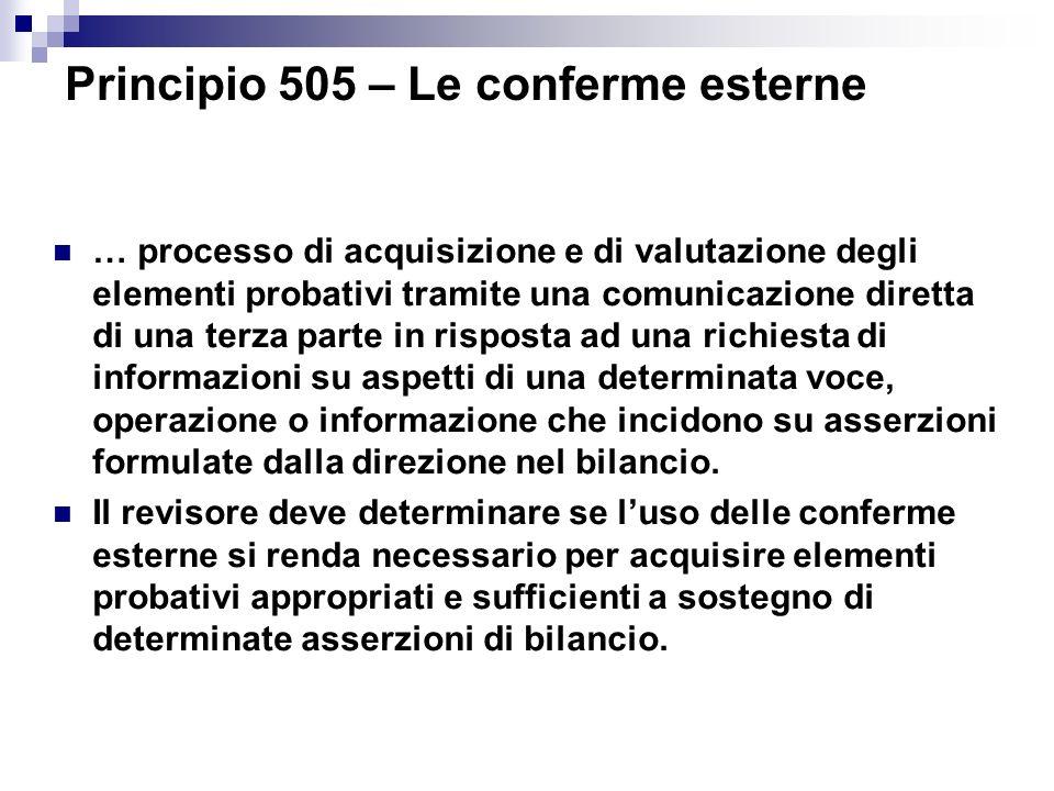 Principio 505 – Le conferme esterne