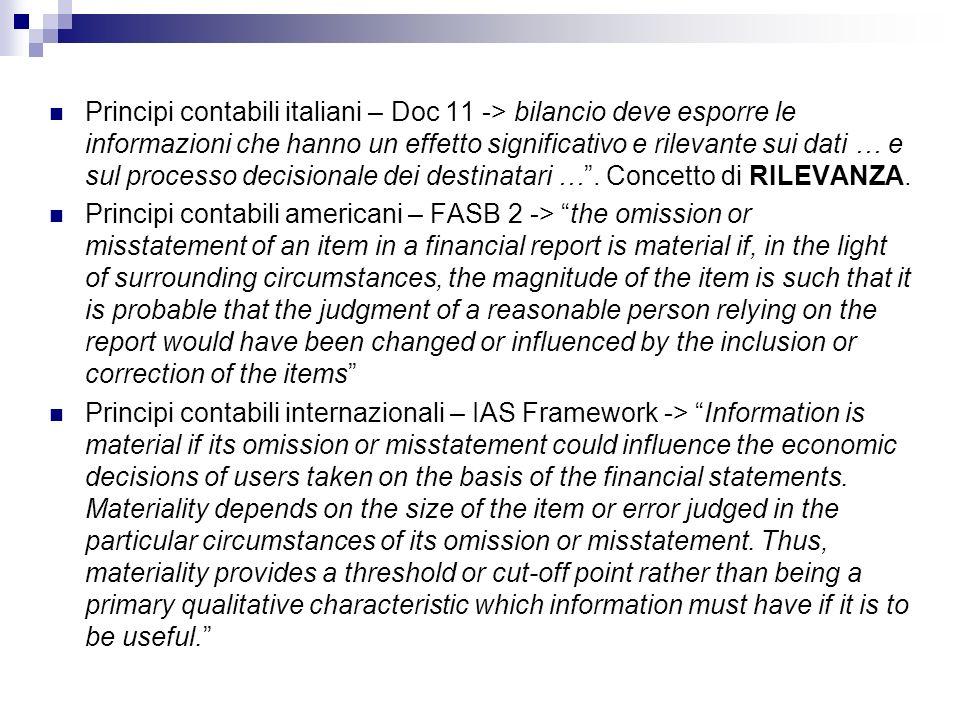 Principi contabili italiani – Doc 11 -> bilancio deve esporre le informazioni che hanno un effetto significativo e rilevante sui dati … e sul processo decisionale dei destinatari … . Concetto di RILEVANZA.