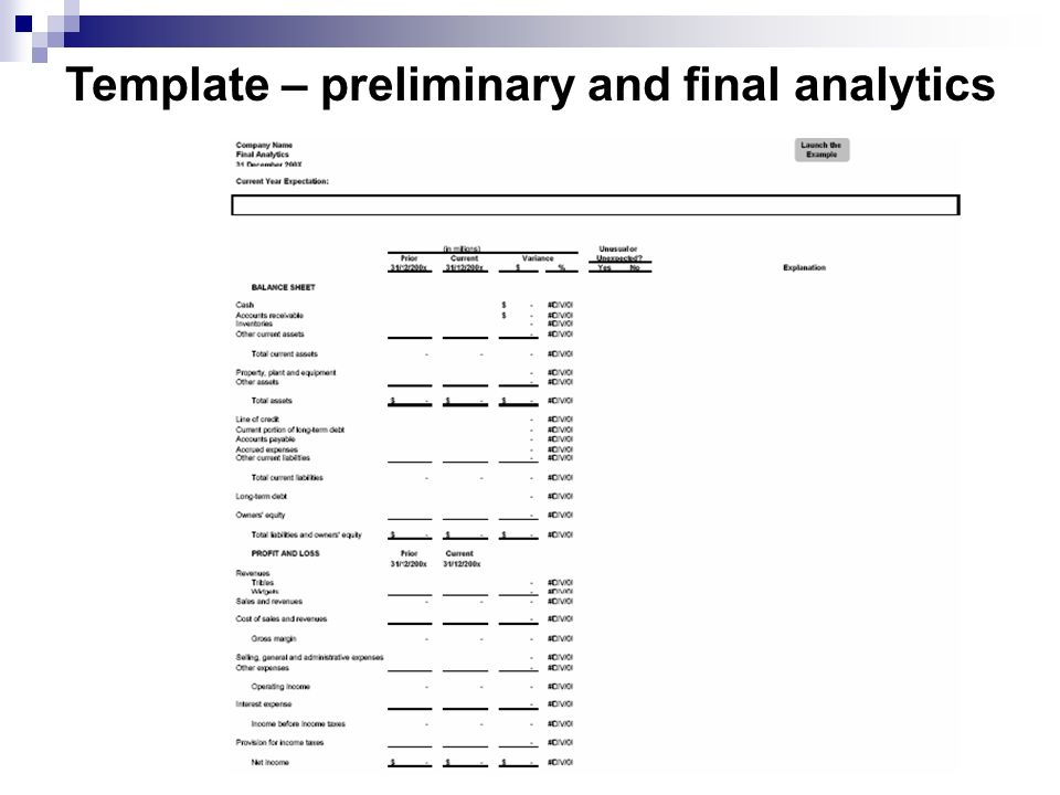 Template – preliminary and final analytics