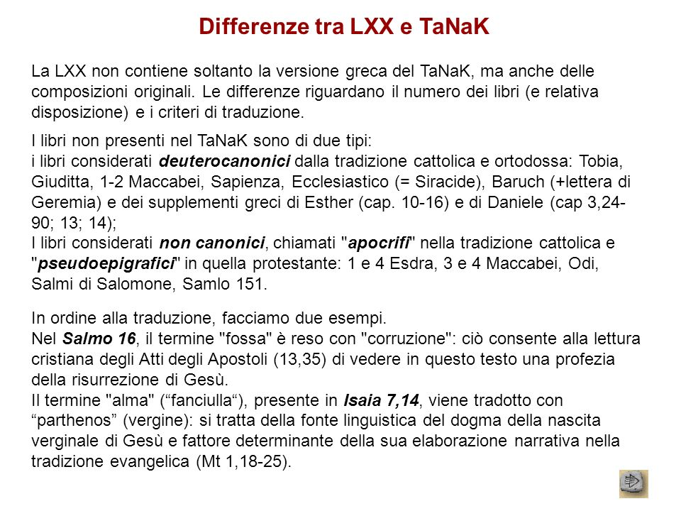 Differenze tra LXX e TaNaK