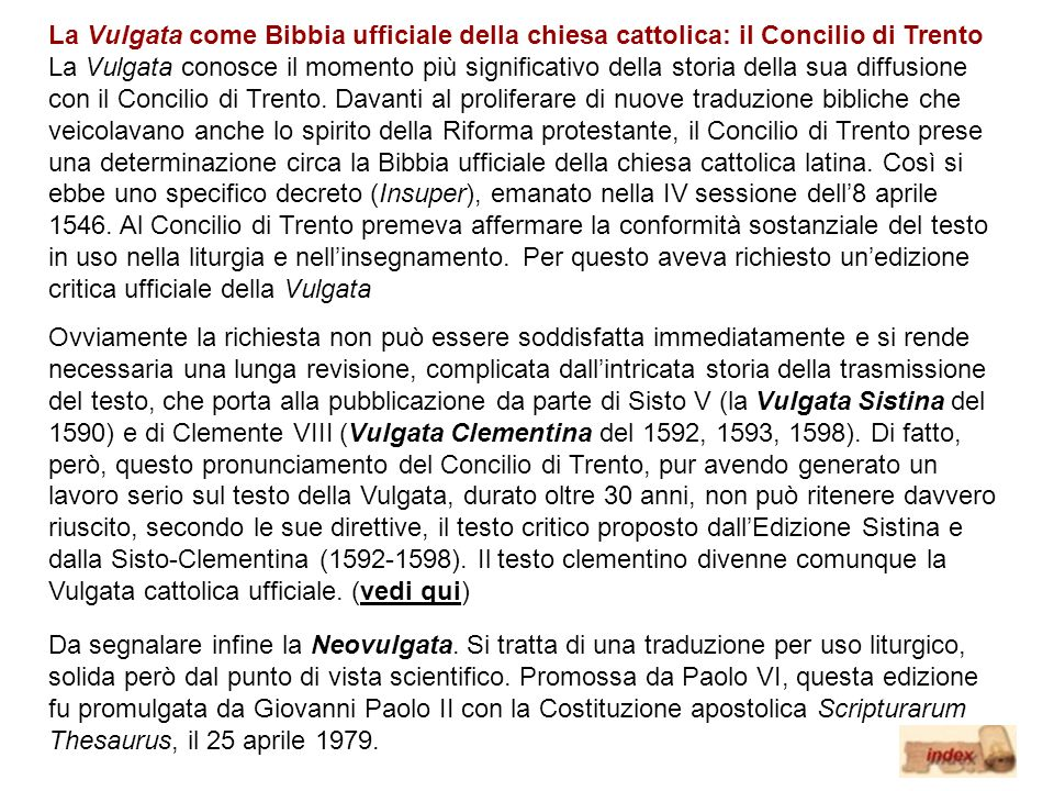 La Vulgata come Bibbia ufficiale della chiesa cattolica: il Concilio di Trento