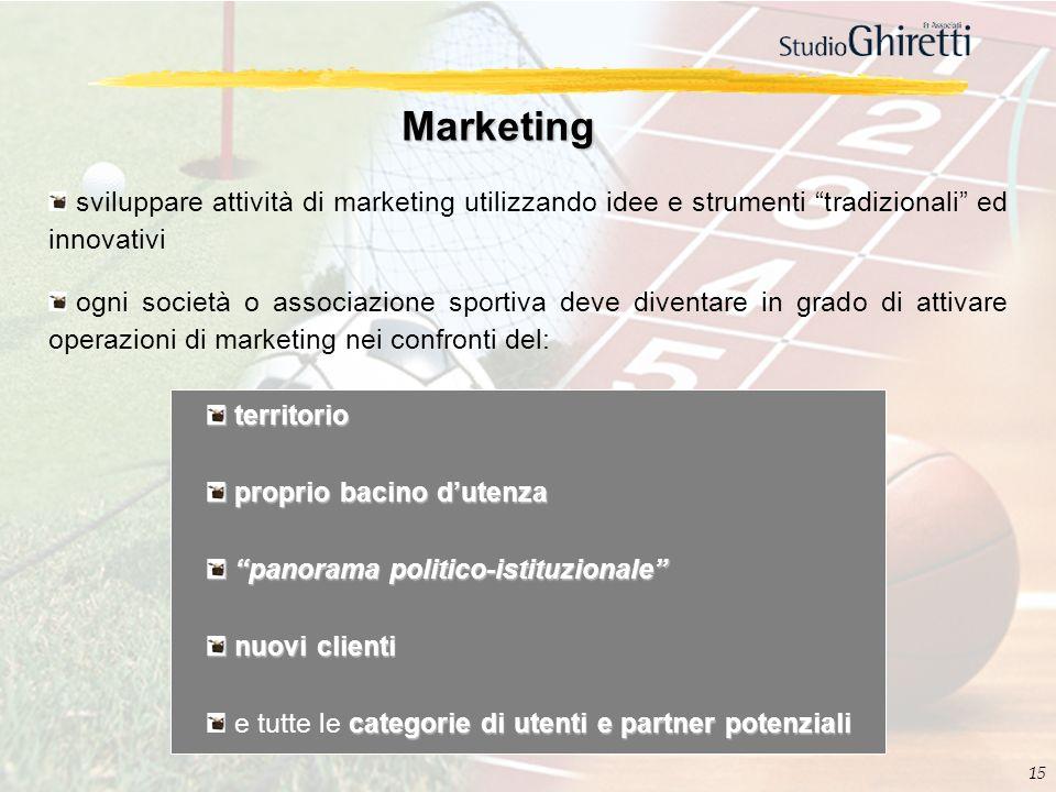 Marketing sviluppare attività di marketing utilizzando idee e strumenti tradizionali ed innovativi.
