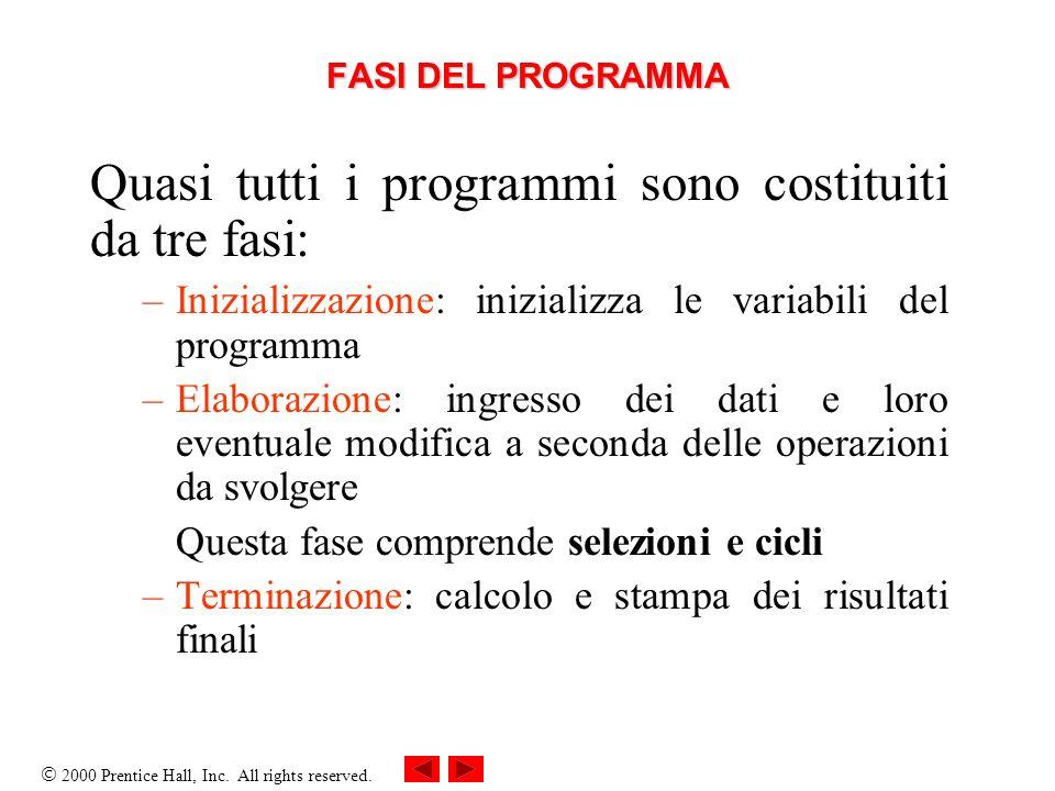 Quasi tutti i programmi sono costituiti da tre fasi: