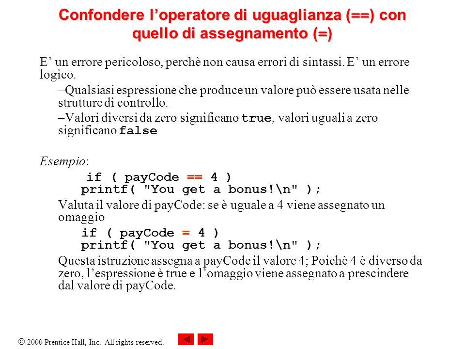 Confondere l'operatore di uguaglianza (==) con quello di assegnamento (=)