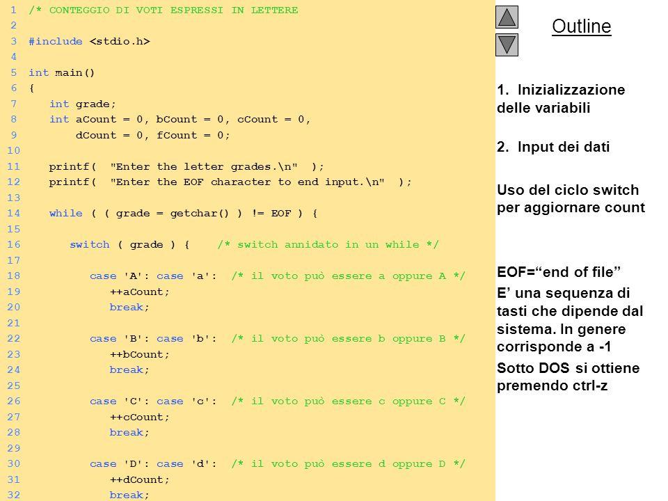 1. Inizializzazione delle variabili 2. Input dei dati