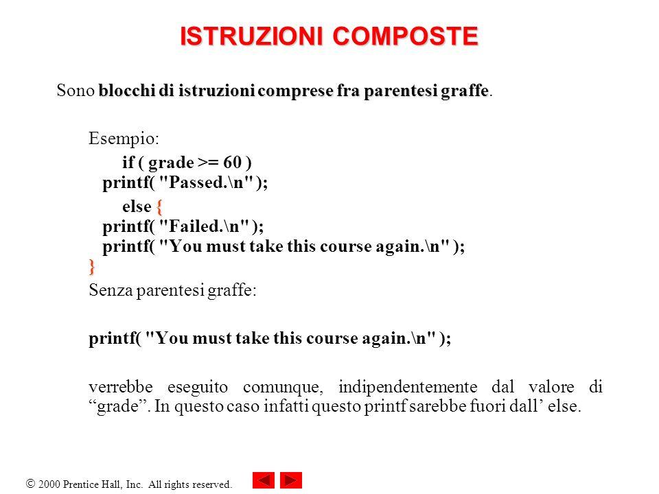 ISTRUZIONI COMPOSTE Sono blocchi di istruzioni comprese fra parentesi graffe. Esempio: if ( grade >= 60 ) printf( Passed.\n );