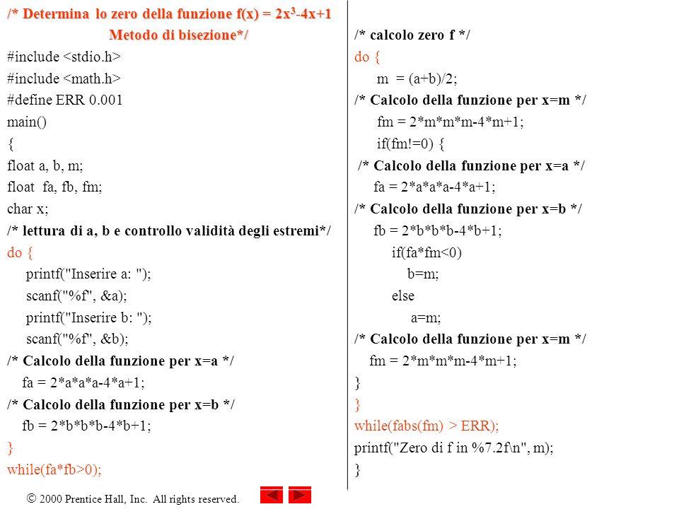 /* Determina lo zero della funzione f(x) = 2x3-4x+1