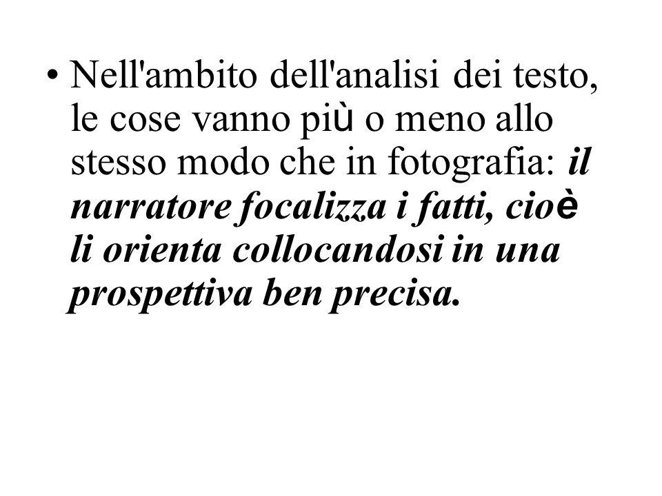 Nell ambito dell analisi dei testo, le cose vanno più o meno allo stesso modo che in fotografia: il narratore focalizza i fatti, cioè li orienta collocandosi in una prospettiva ben precisa.