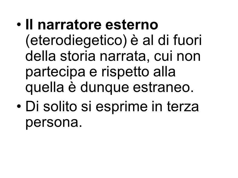 Il narratore esterno (eterodiegetico) è al di fuori della storia narrata, cui non partecipa e rispetto alla quella è dunque estraneo.