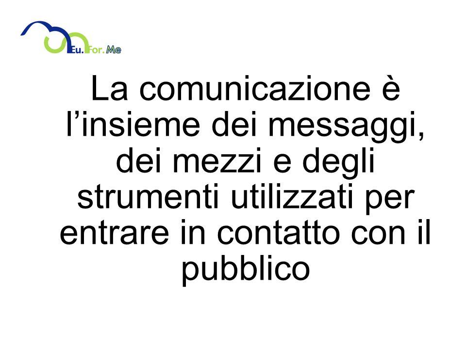 La comunicazione è l'insieme dei messaggi, dei mezzi e degli strumenti utilizzati per entrare in contatto con il pubblico