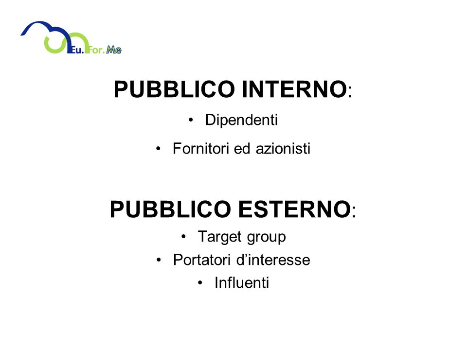 PUBBLICO INTERNO: PUBBLICO ESTERNO: Dipendenti Fornitori ed azionisti