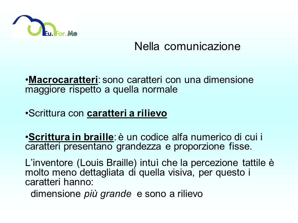 Nella comunicazioneMacrocaratteri: sono caratteri con una dimensione maggiore rispetto a quella normale.