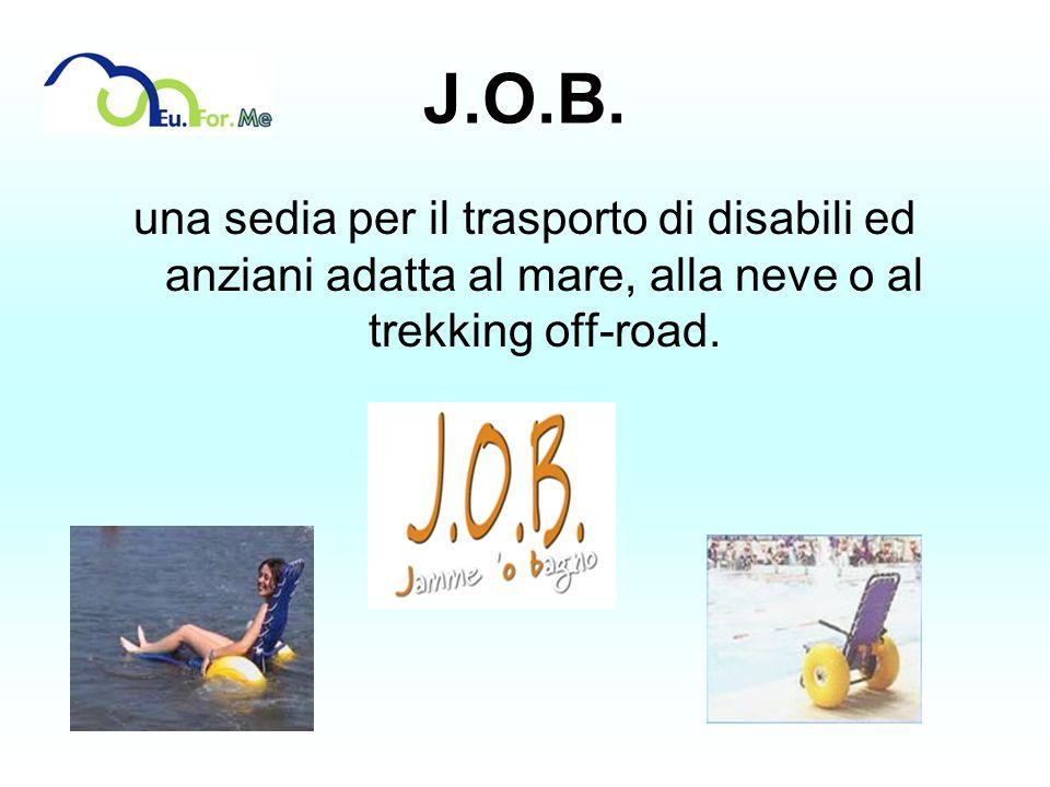J.O.B.una sedia per il trasporto di disabili ed anziani adatta al mare, alla neve o al trekking off-road.